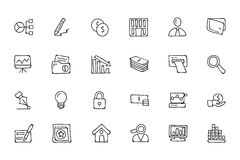 Finance Hand Drawn Doodle Icons 6. Need a little financial stability after all that Christmas gift giving? Make a design plan with your Hand Drawn Financial Royalty Free Stock Images