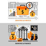Finance Horizontal Banners. Flat horizontal banners on financial theme with coins card and dollar signs vector illustration Royalty Free Stock Photo