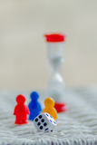 Finance , hourglass team work and dice stock images