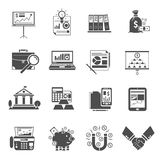Finance Icon Black Set. Finance and commerce icon flat black set isolated vector illustration Royalty Free Stock Photo