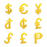 Finance icon currency gold button set. Finance icon currency gold button Stock Photography