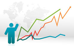 Finance icon graph with arrows. Illustration Stock Photo
