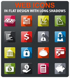 Finance icon set. Finance icons set in flat design with long shadow Stock Image