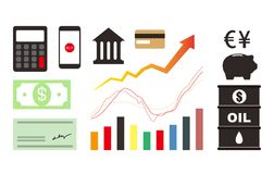 Finance icon set, such as money and bank icons,  Stock Image