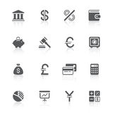 Finance icons. Black finance icons with reflections Stock Photography