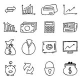 Finance icons. Doodle finance icons set, hand-draw Royalty Free Stock Photos