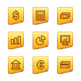 Finance icons. Vector web icons, gold sticker series, V2 Stock Image