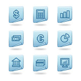 Finance icons. Vector web icons, blue sticker series, V2 Stock Photo