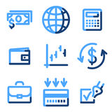 Finance icons. Vector web icons, blue contour series Royalty Free Stock Image