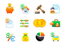 Finance icons. Set of 12 colorful finance icons Royalty Free Stock Photos