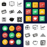 Finance Icons All in One Icons Black & White Color Flat Design Freehand Set. This image is a vector illustration and can be scaled to any size without loss Royalty Free Stock Photography