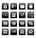 Finance icons on black squares. This is file of EPS8 format Stock Images
