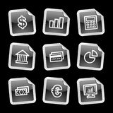 Finance icons, black sticker. Vector web icons, black glossy sticker series, V2 Royalty Free Stock Photos