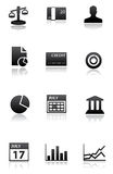 Finance icons black white. Finance icons in black/white balance, cash, people, reports, credit card, bault, categories, schdedules, calender, account, bank Royalty Free Stock Photos