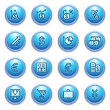 Finance icons on blue buttons. Stock Photo