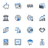 Finance Icons - Blue Series. Set of 16 finance icons, great for presentations, web design, web apps, mobile applications or any type of design projects Royalty Free Stock Photos
