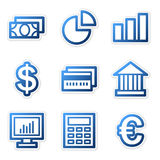 Finance icons, blue series. Vector web icons, blue contour series, V2 Stock Photos