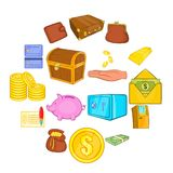 Finance icons set, cartoon style. Finance icons in cartoon style. Money set collection isolated vector illustration Royalty Free Stock Images