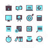 Finance Icons Collection. 16 modern flat style icons of finance and investment Stock Photo
