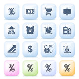 Finance icons on color buttons. Vector icons set for websites, guides, booklets Stock Images