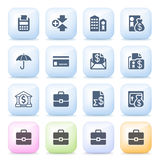 Finance icons on color buttons. Vector icons set for websites, guides, booklets Royalty Free Stock Photo