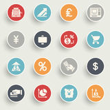Finance icons with color buttons on gray background. Vector icons set for websites, guides, booklets Royalty Free Stock Photo