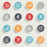 Finance icons with color buttons on gray background. Vector icons set for websites, guides, booklets Royalty Free Stock Photos