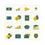 Finance icons. Icons for financial topics. yellow and green.  format Stock Photography