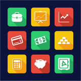 Finance Icons Flat Design. This image is a illustration and can be scaled to any size without loss of resolution Stock Photos