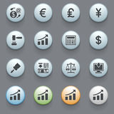 Finance icons on gray background. Set 2. Vector icons set for websites, guides, booklets Stock Image