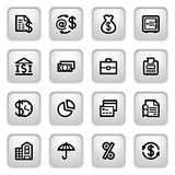 Finance icons on gray buttons. Vector icons set for websites, guides, booklets Stock Image