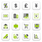 Finance icons. Green gray series. Stock Photography