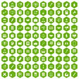 100 finance icons hexagon green. 100 finance icons set in green hexagon isolated vector illustration Stock Photos