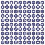 100 finance icons hexagon purple. 100 finance icons set in purple hexagon isolated vector illustration Royalty Free Stock Image