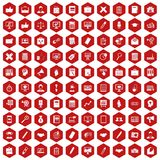 100 finance icons hexagon red. 100 finance icons set in red hexagon isolated vector illustration Stock Illustration