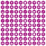 100 finance icons hexagon violet. 100 finance icons set in violet hexagon isolated vector illustration Vector Illustration
