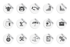 Finance icons icons | Sticky series. Set of 15 stickers. finance and bank Royalty Free Stock Images