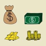 Finance  Icons. Illustration of hand drawn cartoon finance icons Stock Photos