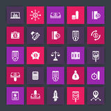 25 finance icons, investing, venture capital, shares, stocks, money, funds, investment, income, finance square icons set Royalty Free Stock Photo