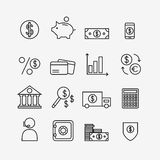 Finance icons isolated on background. Bank icons set. Money box, dollar, money exchange, mobile banking, credit card. Outline bank icons for web business. Flat Stock Photography