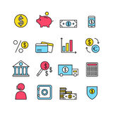 Finance icons isolated on background. Bank icons set. Money box, dollar, money exchange, mobile banking, credit card. Outline bank icons for web business. Flat Royalty Free Stock Photography