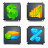 Finance icons. With money, diagram and present symbol,  illustration Royalty Free Stock Images