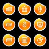 Finance icons, orange circle s. Vector web icons, orange circle sticker series, V2 Stock Image