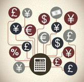 Finance icons. Over pattern background vector illustration Royalty Free Stock Photos