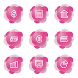 Finance icons, pink series. Vector web icons, pink flower series, V2 Royalty Free Stock Photos