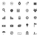 Finance icons with reflect on white background Royalty Free Stock Images