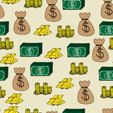 Finance  Icons Seamless Background. Illustration of hand drawn cartoon finance icons seamless background Royalty Free Stock Image