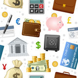 Finance Icons Seamless Pattern. A seamless pattern with colorful finance and money icons, on white background. Eps file available Stock Photography