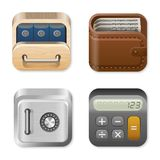 Finance Icons set. Finance vector Icons set Drawer, Wallet, Vault, Calculator Stock Photos