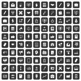 100 finance icons set black. 100 finance icons set in black color isolated vector illustration Royalty Free Illustration